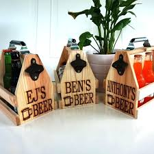 personalized wooden beer caddy image 0 with bottle opener