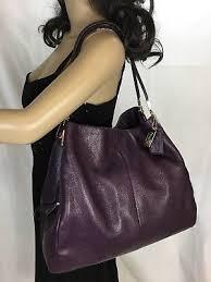 Coach madison leather large phoebe shoulder bag purple f24621