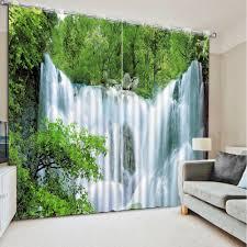 Fenster Vorhang Wohnzimmer Wasserfall Natur Landschaft Fotodruck