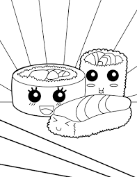 Sushi Makis Coloring Page Coloring Pages Cat Coloring Page Food