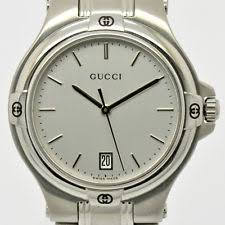 gucci 9040m. auth gucci 9040m wrist watch for men stainless steel date silver dial #1358 gucci 9040m