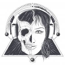 Vector Illustration Of A Woman Face And Skull Tattoo Template Free