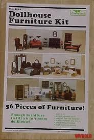 Vintage 1982 Greenleaf 56 Piece Wooden Dollhouse Furniture Kit Nbr