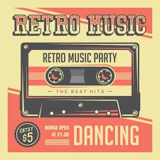 <b>Retro music</b> compact cassette vintage signage poster Premium Vector