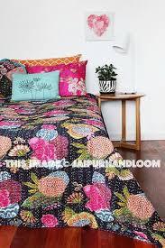 Queen Black Floral kantha Quilt , Bedding , Bedspread, Bed cover , Kan & Queen Black Floral kantha Quilt , Bedding , Bedspread, Bed cover , Kantha  Blanket- ... Adamdwight.com