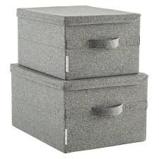 Bigso Grey Soft Storage Boxes with Handles