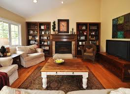 rustic living room wall decor. Captivating Rustic Living Room Wall Decor Design Ideas With Fireplace And Tv Also Sophisticated Sofas Plus Built In Shelves H