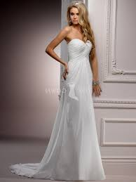 Chiffon A Line Ruched Bodice Wedding Dress With Sweetheart Neckline