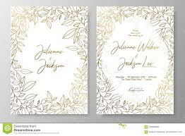 Save The Date Cards Templates Gold Invitation With Frame Of Leaves Gold Cards Templates For Save