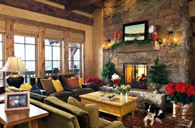 Of Living Rooms Decorated For Christmas Christmas Decorations For Living Room Beige Fireplace Double White