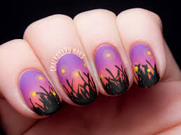 Fireflies in the Field at Sunset | Chalkboard Nails | Nail Art Blog