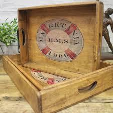 rms mauretania vintage wooden serving tray single british cunard ship titanic