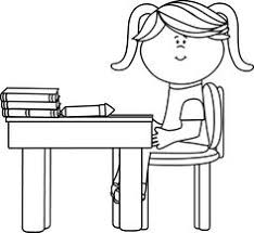desk clipart black and white. black and white school girl sitting at a desk clip art - vector image clipart c