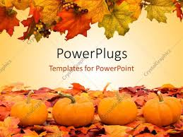 Powerpoint Template Autumn Fall Colored Leaves With Pumpkins