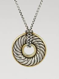 david yurman sterling silver carved cable disc pendant necklace at