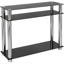 hygena matrix console table black glass tables chairs furniture graded electricals direct