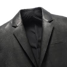 black leather blazer mens