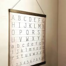 Alphabet And Numbers Chart Alphabet And Numbers Chart Vintage Style Canvas Banner With Handcrafted Wooden Hanger