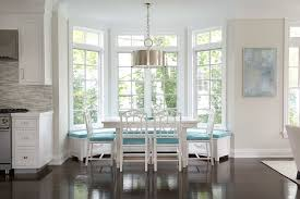 Bay Window Banquette Design Ideas with Bay Window Dining Table