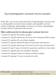 top 8 photographer assistant resume samples in this file you can ref resume materials for photography assistant cover letter