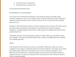 Review Examples For Employees Words To Use In Performance Review Appraisal Employee Comments