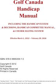 Golf Canada Handicap Manual Pdf