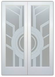 double entry doors with glass etched glass art deco design geometric patterns linear sun odyssey sans