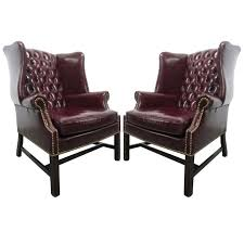 pair of vintage leather tufted wingback chairs for at 1stdibs throughout tufted leather wingback chair decorating