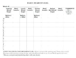 Printable Glucose Monitoring Log Blood Diabetic Sheet