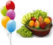 5 air filled balloons 2 kg fresh fruits basket rs 900 us 15 00