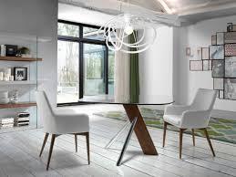 Stylish Modern Porto Lujo Square Glass Dining Table With Walnut