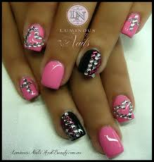 Pink, Black Bling Bling Sculptured Acrylic with Custom Pink Gel, Mani Q  Black Pink Clear Crystals.