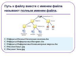 Презентация Файл и файловая система Понятие файла файловой  Путь к файлу вместе с именем файла называют полным именем файла c Рефераты