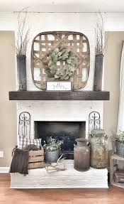 painted white brick fireplace basket over fireplace farmhouse style living room