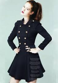 navy blue double ted elegant wool peplum skirted military coat