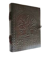sacred oak tree leather bound blank book journal notebook white paper journals