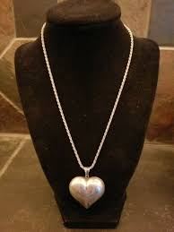 vintage sterling silver large puffy heart pendant necklace