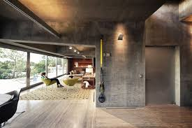 living space concrete walls extraordinary contemporary home in