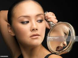 woman holding hand mirror. Young Woman Holding Hand Mirror, Looking Over Shoulder : Stock Photo Mirror N