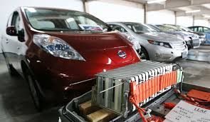 electric car motor for sale. A Nissan Leaf Electric Vehicle Stands With Part Of Its Battery. Car Motor For Sale L