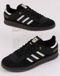 adidas handball top trainers in black off white leather suede gum sole