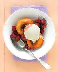 recipes for desserts with fruit. Exellent With VanillaRoasted Peaches With Raspberries  Get Recipe Intended Recipes For Desserts With Fruit E