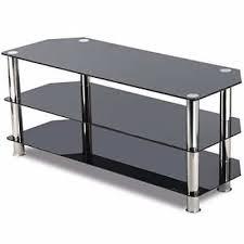 8 topeakmart black glass tv stand chrome legs 3