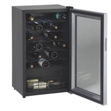 34 bottle wine cooler black cabinet glass door