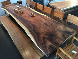 solid wood dining table. Live Edge Dining Table And Bench Solid Wood