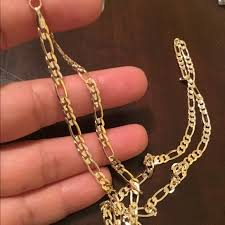 14k gold plated figaro necklace won t tarnish