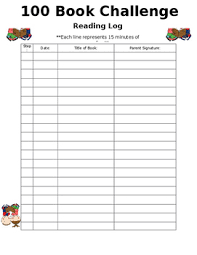 100 Book Challenge Chart Book Challenge Reading Log Worksheets Teaching Resources Tpt