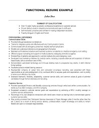 functional resume summary