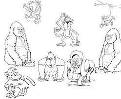 Disegni Da Colorare Gratis Per Bambini Gruppo Di Scimmie Disegni