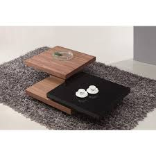 giomani ivana rotating coffee table in walnut and white or walnut and black